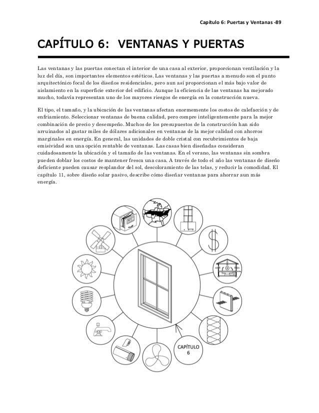 Capítulo 6: Puertas y Ventanas ‐89  CAPÍTULO 6: VENTANAS Y PUERTAS  Las ventanas y las puertas conectan el interior de una...