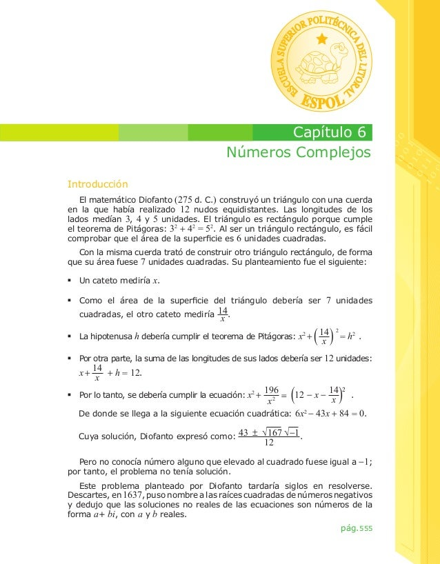 Capítulo 6 Números Complejos Introducción El matemático Diofanto (275 d. C.) construyó un triángulo con una cuerda en la q...