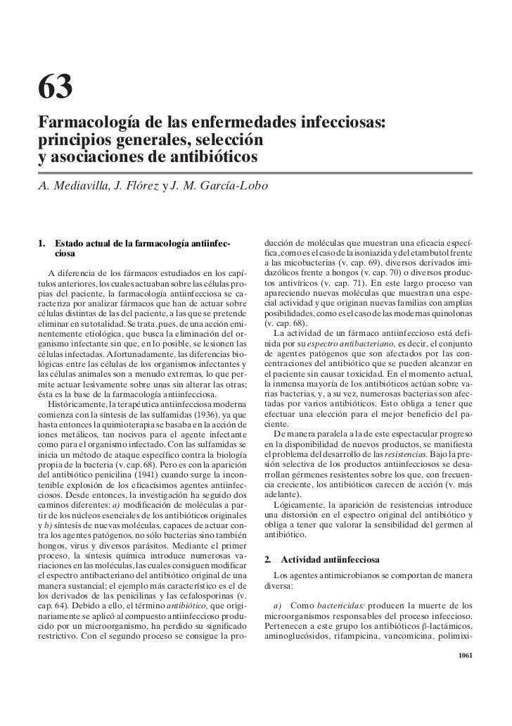 63Farmacología de las enfermedades infecciosas:principios generales, seleccióny asociaciones de antibióticosA. Mediavilla,...