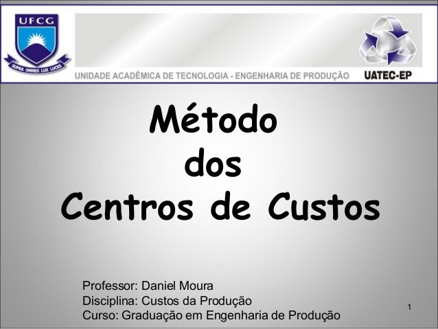 1 Método dos Centros de Custos Professor: Daniel Moura Disciplina: Custos da Produção Curso: Graduação em Engenharia de Pr...