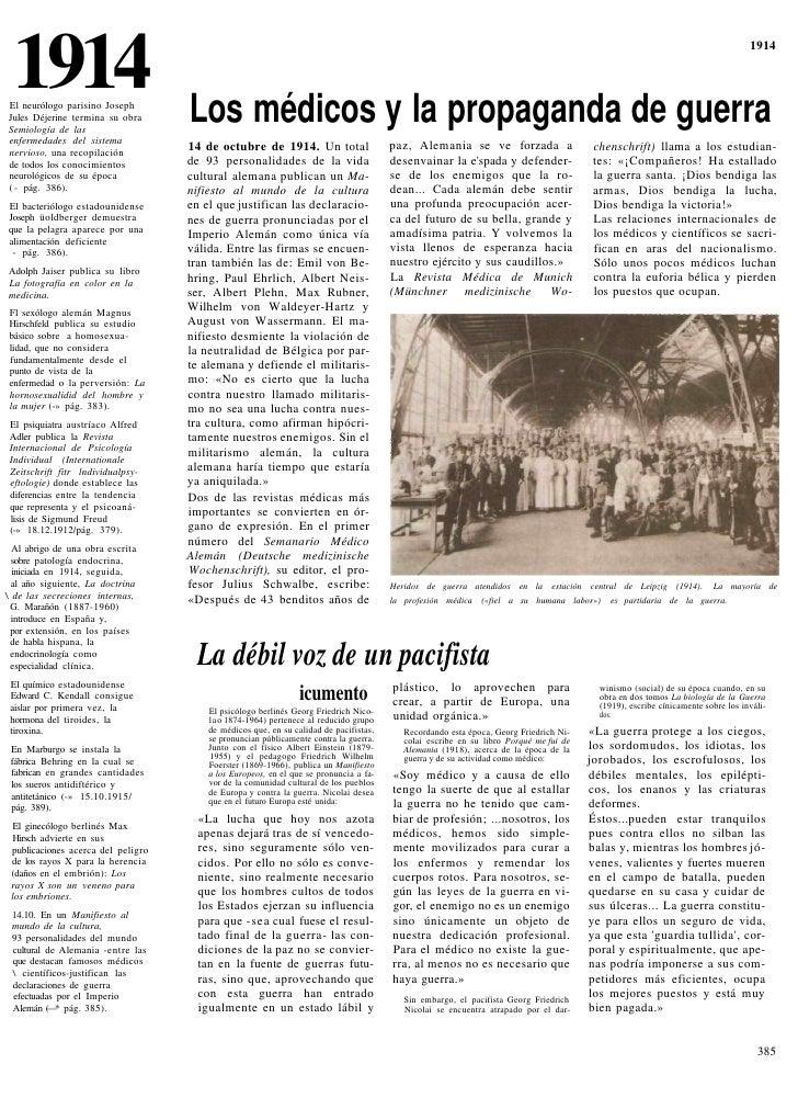 1914 El neurólogo parisino Joseph Jules Déjerine termina su obra      Los médicos y la propaganda de guerra               ...