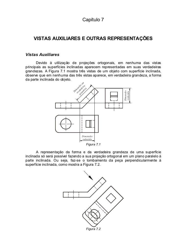 Capítulo 7     VISTAS AUXILIARES E OUTRAS REPRESENTAÇÕESVistas Auxiliares       Devido à utilização de projeções ortogonai...