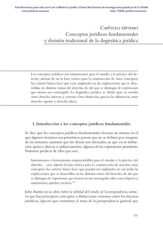 191 Capítulo séptimo Conceptos jurídicos fundamentales y división tradicional de la dogmática jurídica Los conceptos juríd...