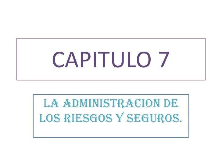 CAPITULO 7<br />LA ADMINISTRACION DE LOS RIESGOS Y SEGUROS.<br />