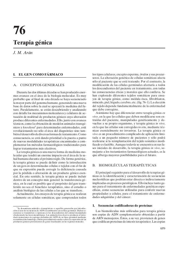 76Terapia génicaJ. M. AránI.   EL GEN COMO FÁRMACO                                                          los tipos celu...