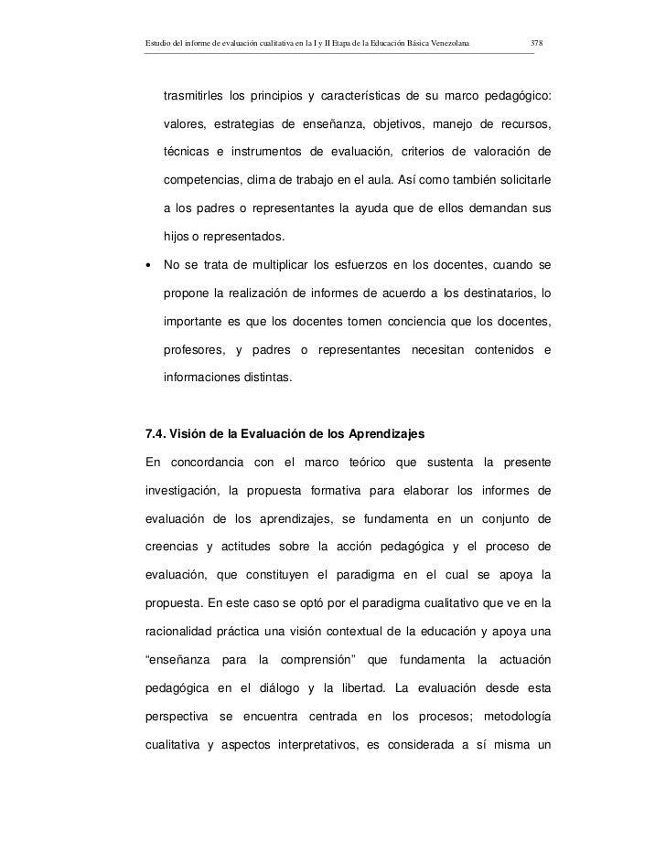Estudio del informe de evaluación cualitativa en la I y II Etapa de la Educación Básica Venezolana   378          trasmiti...