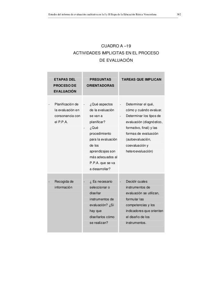 Estudio del informe de evaluación cualitativa en la I y II Etapa de la Educación Básica Venezolana   382                  ...