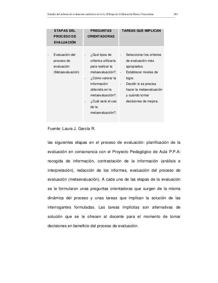 Estudio del informe de evaluación cualitativa en la I y II Etapa de la Educación Básica Venezolana   384           ETAPAS ...