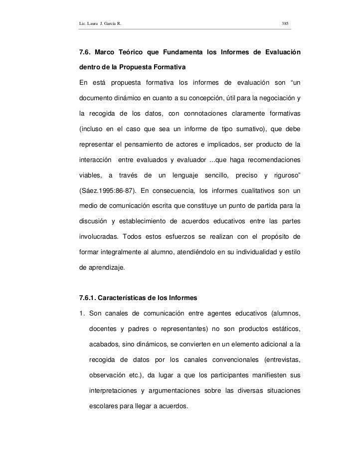 Lic. Laura J. García R.                                                         385     7.6. Marco Teórico que Fundamenta ...
