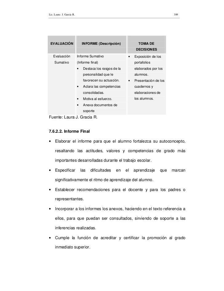 Lic. Laura J. García R.                                                              389      EVALUACIÓN                  ...
