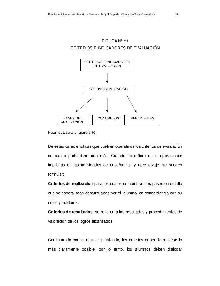 Estudio del informe de evaluación cualitativa en la I y II Etapa de la Educación Básica Venezolana   394                  ...
