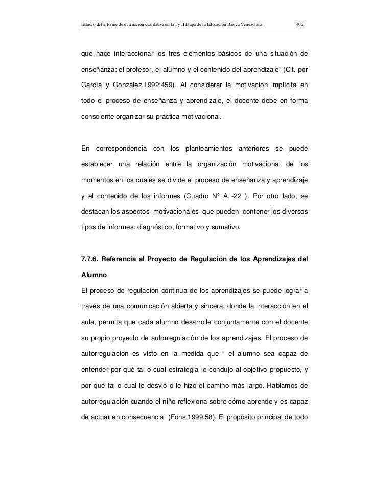 Estudio del informe de evaluación cualitativa en la I y II Etapa de la Educación Básica Venezolana   402     que hace inte...