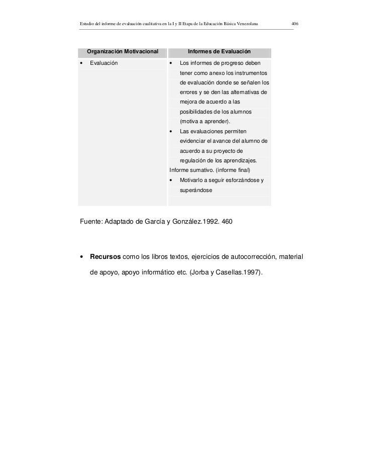 Estudio del informe de evaluación cualitativa en la I y II Etapa de la Educación Básica Venezolana   406         Organizac...
