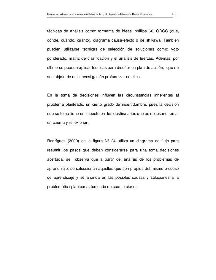 Estudio del informe de evaluación cualitativa en la I y II Etapa de la Educación Básica Venezolana   410     técnicas de a...