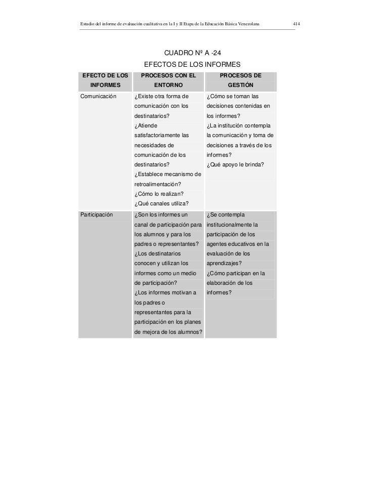 Estudio del informe de evaluación cualitativa en la I y II Etapa de la Educación Básica Venezolana   414                  ...