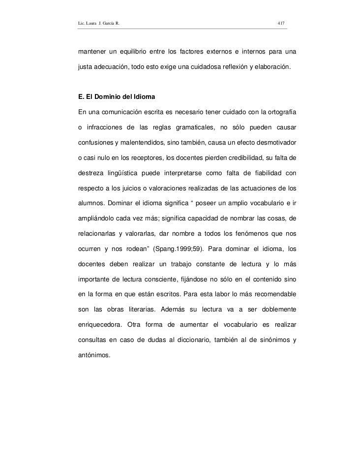Lic. Laura J. García R.                                               417     mantener un equilibrio entre los factores ex...