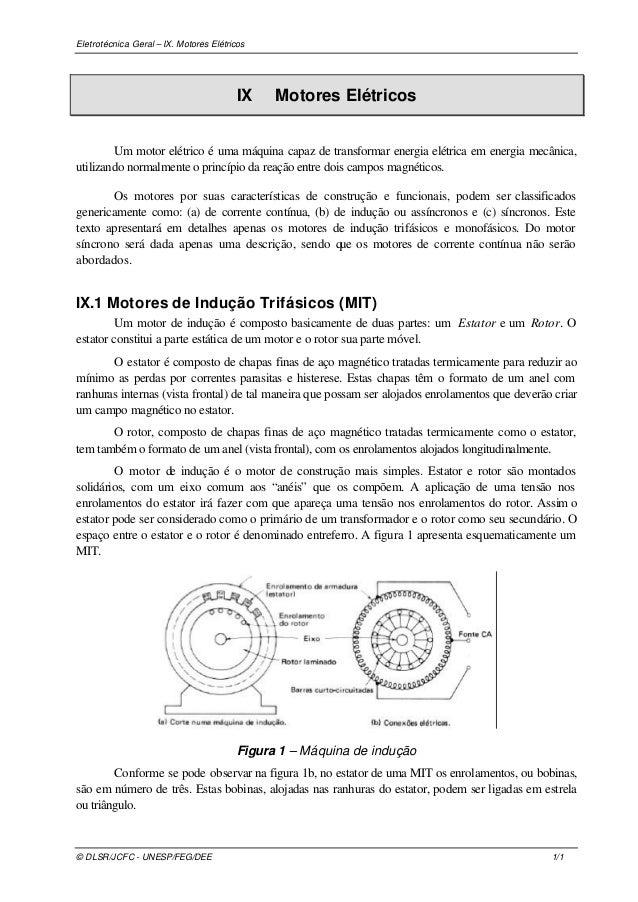 Eletrotécnica Geral – IX. Motores Elétricos © DLSR/JCFC - UNESP/FEG/DEE 1/1 IX Motores Elétricos Um motor elétrico é uma m...