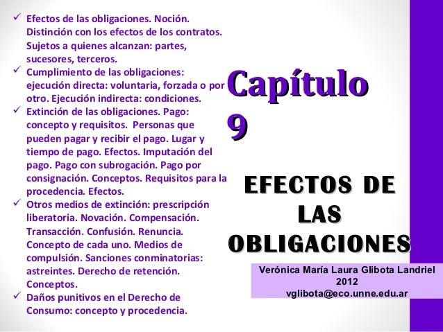  Efectos de las obligaciones. Noción.  Distinción con los efectos de los contratos.  Sujetos a quienes alcanzan: partes, ...