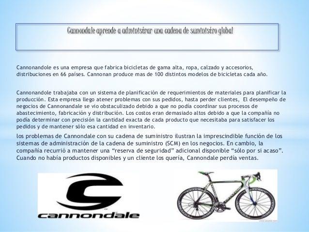 Cannondale aprende a administrar una cadena de suministro global  Cannonandole es una empresa que fabrica bicicletas de ga...