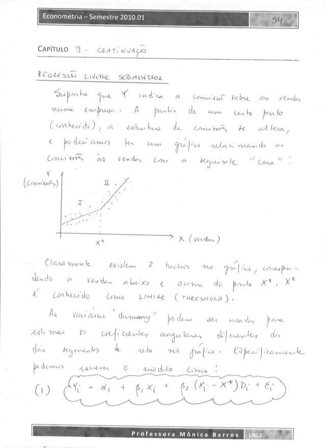 Monica Barros - Econometria - ENCE 2010 - Resumo Capítulo 9 Gujarati - CONTINUAÇÃO