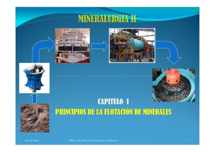 CAPITULO I              PRINCIPIOS DE LA FLOTACIÓN DE MINERALES   18/05/2010       MSc. Ing. Nataniel Linares Gutiérrez   1