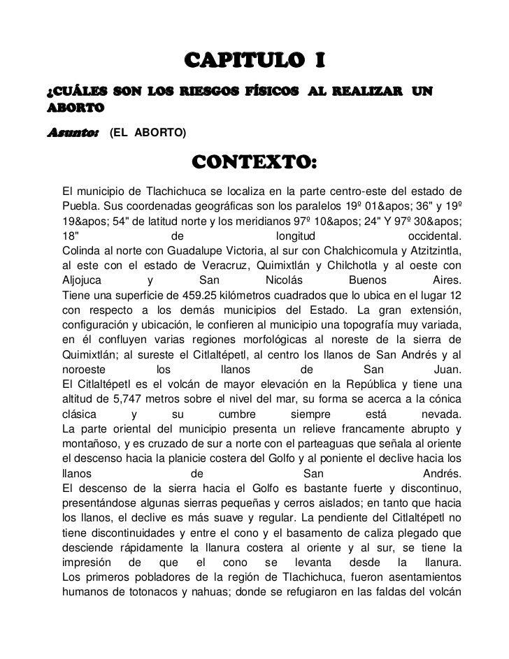CAPITULO  I<br />¿CUÁLES  SON  LOS  RIESGOS  FÍSICOS   AL  REALIZAR   UN  ABORTO<br />Asunto:    (EL  ABORTO)<br />CONTEXT...