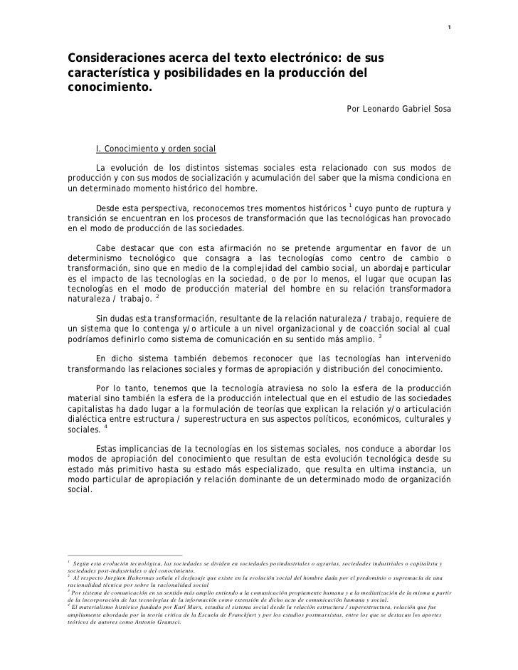 1     Consideraciones acerca del texto electrónico: de sus característica y posibilidades en la producción del conocimient...