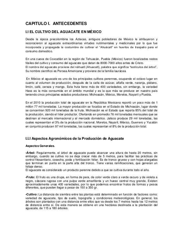 CAPITULO I. ANTECEDENTESI.I EL CULTIVO DEL AGUACATE EN MÉXICODesde la época precolombina los Aztecas, antiguos pobladores ...