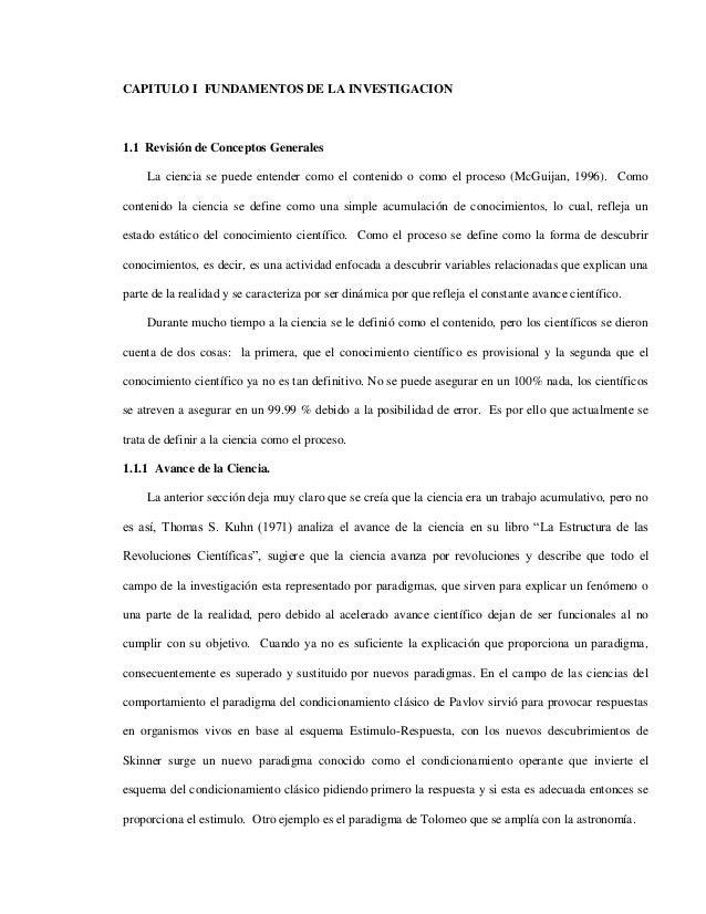 CAPITULO I FUNDAMENTOS DE LA INVESTIGACION1.1 Revisión de Conceptos Generales     La ciencia se puede entender como el con...