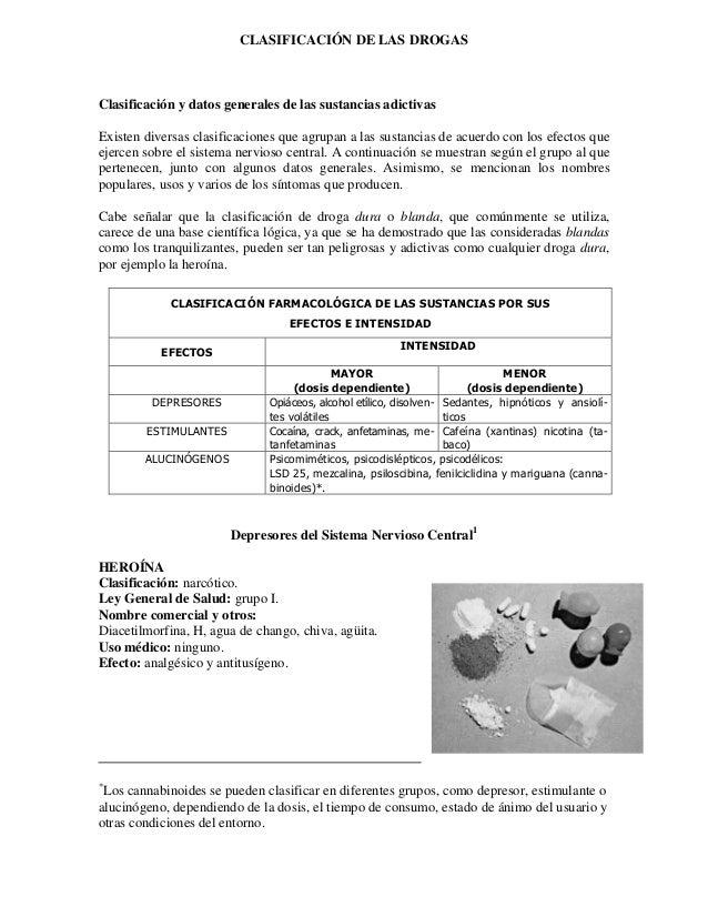CLASIFICACIÓN DE LAS DROGASClasificación y datos generales de las sustancias adictivasExisten diversas clasificaciones que...