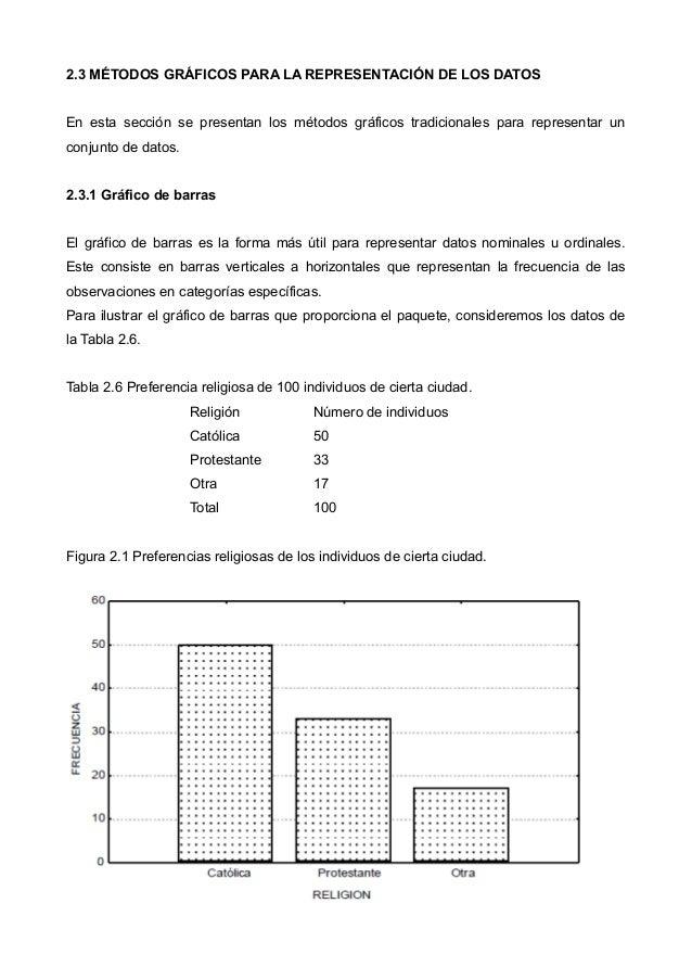 2.3 MÉTODOS GRÁFICOS PARA LA REPRESENTACIÓN DE LOS DATOS En esta sección se presentan los métodos gráficos tradicionales p...