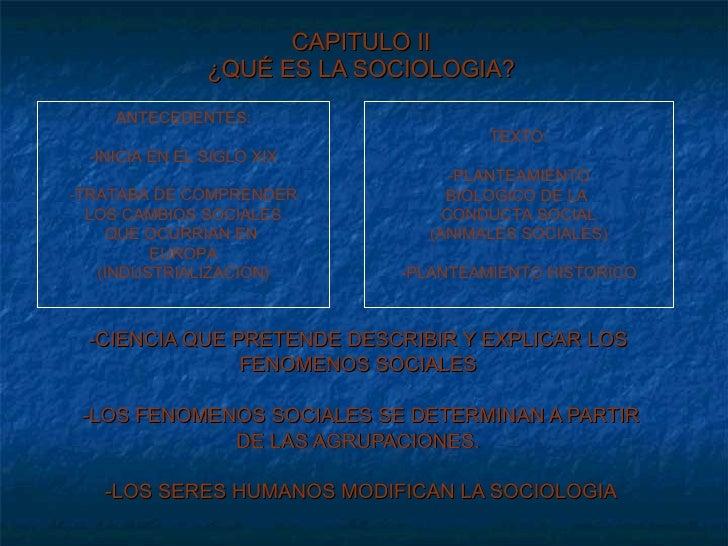 CAPITULO II ¿QUÉ ES LA SOCIOLOGIA? -CIENCIA QUE PRETENDE DESCRIBIR Y EXPLICAR LOS  FENOMENOS SOCIALES  -LOS FENOMENOS SOCI...
