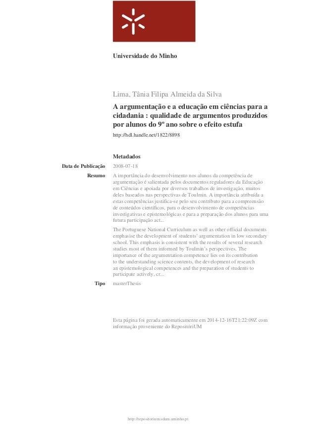 http://repositorium.sdum.uminho.pt Universidade do Minho Lima, Tânia Filipa Almeida da Silva A argumentação e a educação e...