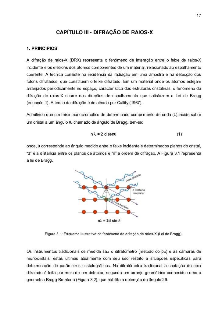 17                  CAPÍTULO III - DIFRAÇÃO DE RAIOS-X1. PRINCÍPIOSA difração de raios-X (DRX) representa o fenômeno de in...