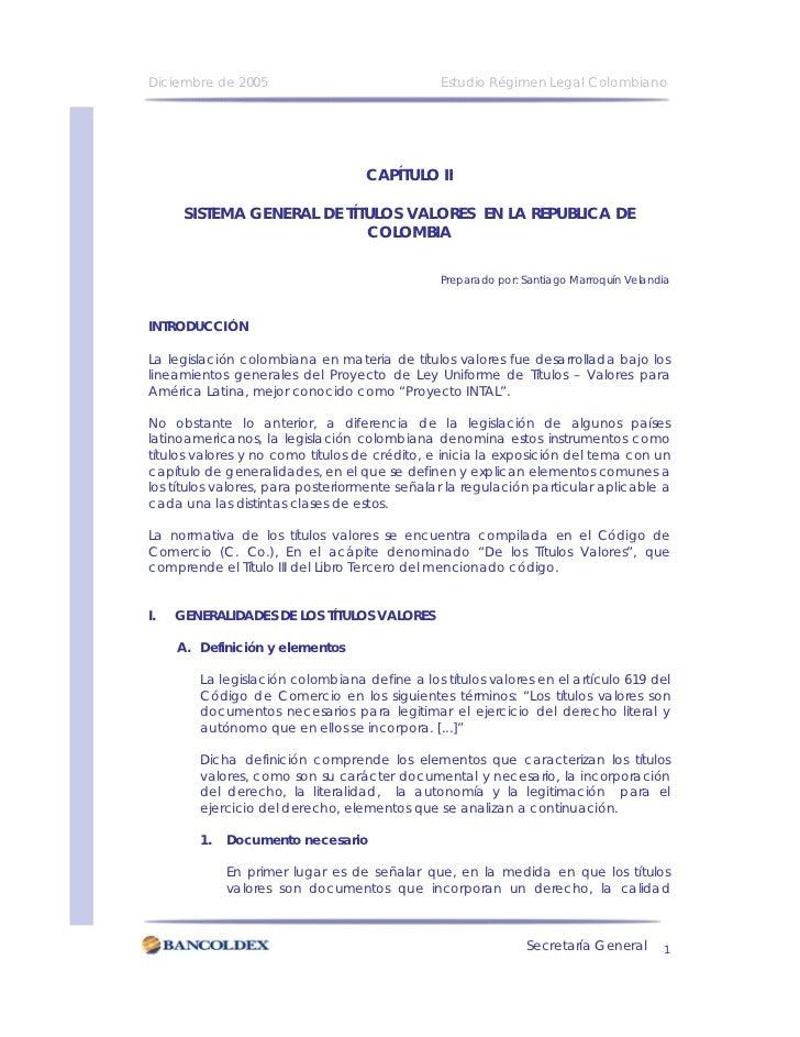 Diciembre de 2005                              Estudio Régimen Legal Colombiano                                        CAP...