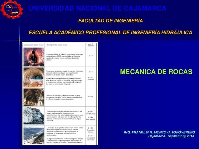 1  UNIVERSIDAD NACIONAL DE CAJAMARCA  FACULTAD DE INGENIERÍA  ESCUELA ACADÉMICO PROFESIONAL DE INGENIERÍA HIDRÁULICA  MECA...