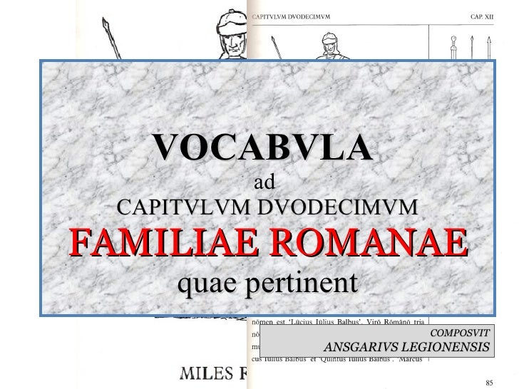 VOCABVLA  ad  CAPITVLVM DVODECIMVM FAMILIAE ROMANAE quae pertinent COMPOSVIT ANSGARIVS LEGIONENSIS