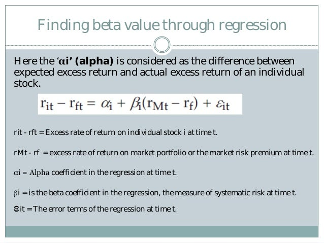 statistics regression about capm Uc berkeley © m spiegel and r stanton, 2000 9 what risk free rate to use in the regression, if using (say) monthly returns, you need a monthly risk-free rate.