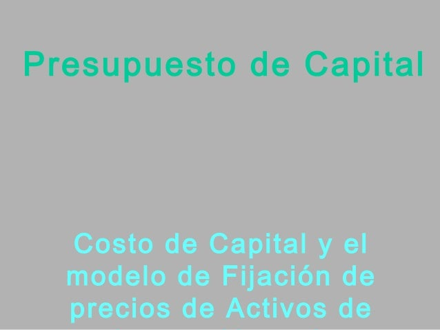 Presupuesto de Capital  Costo de Capital y el  modelo de Fijación de  precios de Activos de