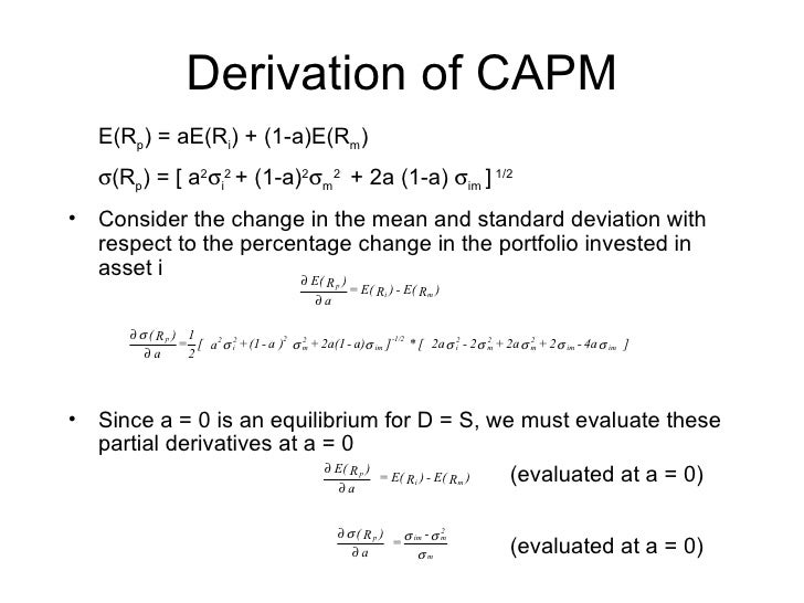capital asset pricing model capm versus The capital asset pricing model (capm) is used in corporate finance to determine a theoretically appropriate price of an asset given that asset's systematic.