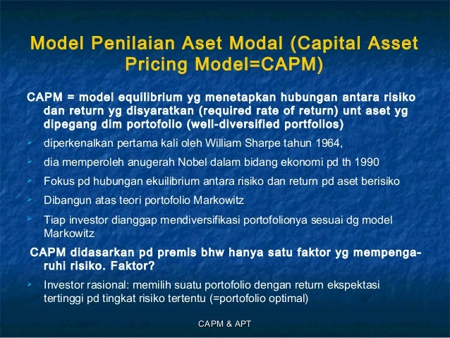 the capital asset pricing model theory Capital asset pricing model (capm) an economic theory that describes the relationship between risk and expected return, and serves as a model for the pricing.