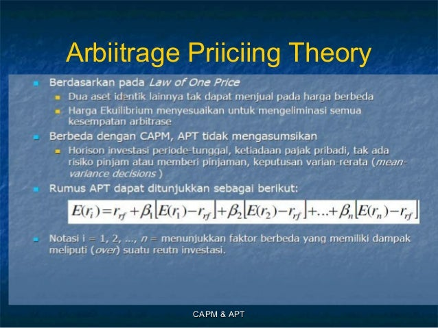 the capital asset pricing model and arbitrage pricing Capital asset pricing model and arbitrage pricing theory in the italian stock market: an empirical study arduino cagnetti∗ abstract the italian stock market (ism) has interesting characteristics.