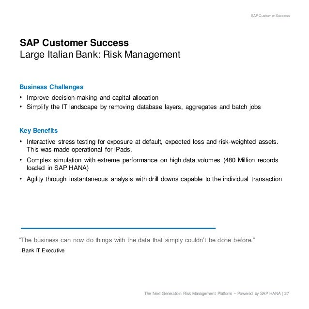 Stress Test Liquidity: SAP HANA For Capital Markets Risk Management