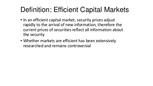 capital asset pricing model efficient market We recast the capital asset pricing model (capm) in the broader context of general  perties of capm equilibria: they are efficient, asset prices lie on a security market line, and all agents hold the same two mutual funds the first property requires a riskless asset, the latter two do not  in fact the missing asset markets will (with rare.