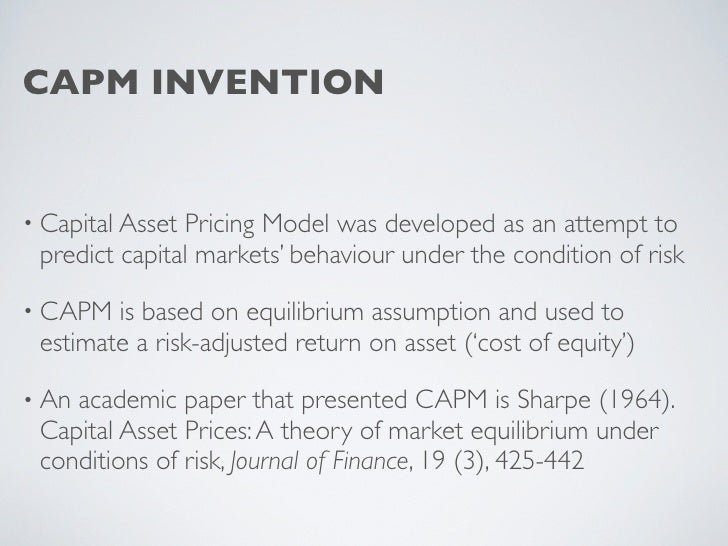 understanding the theory of capital asset pricing model Fin325 ch 9 study play b in the context of the capital asset pricing model (capm) the relevant measure of risk is  capital asset pricing theory asserts that.