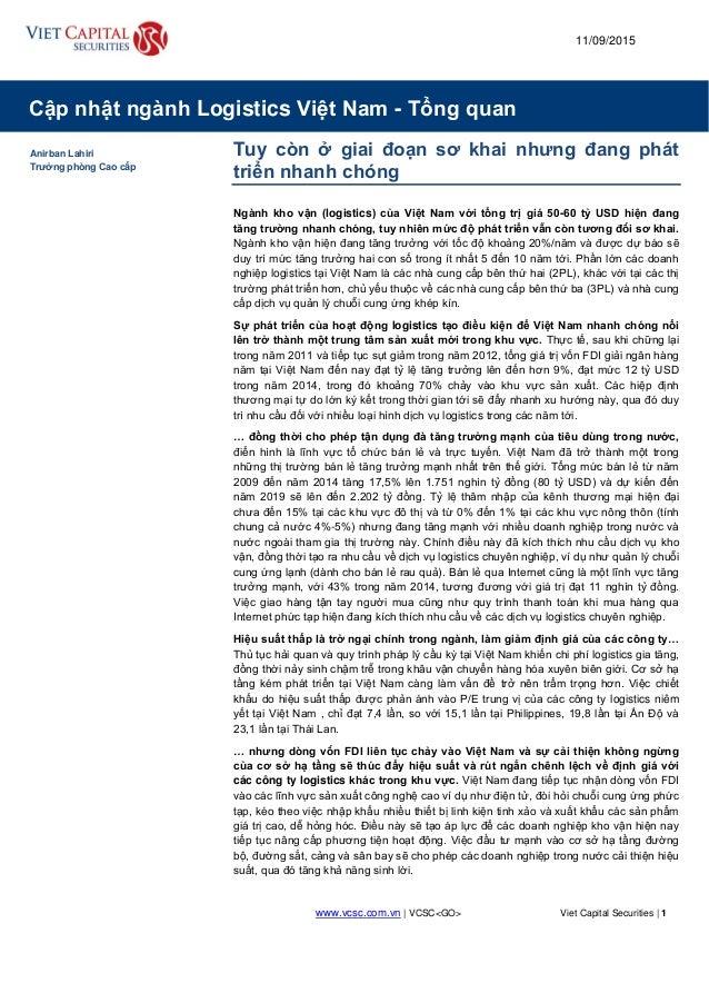 www.vcsc.com.vn | VCSC<GO> Viet Capital Securities | 1 Cập nhật ngành Logistics Việt Nam - Tổng quan 18 March 2011 11/09/2...
