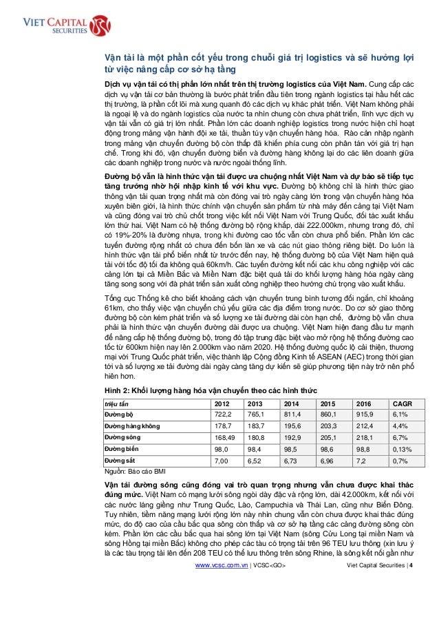 www.vcsc.com.vn | VCSC<GO> Viet Capital Securities | 4 HOLD Vận tải là một phần cốt yếu trong chuỗi giá trị logistics và s...