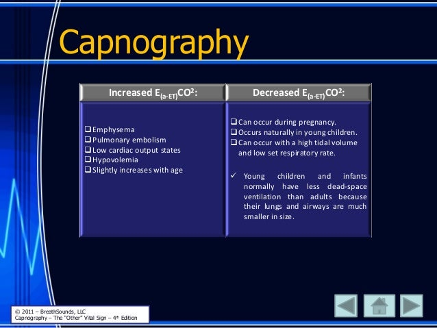 Capnography Increased E(a-ET)CO2: Decreased E(a-ET)CO2: Emphysema Pulmonary embolism Low cardiac output states Hypovol...