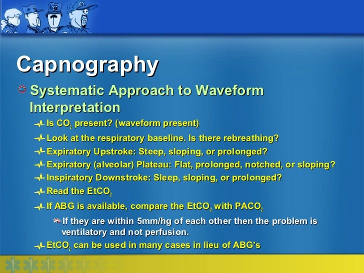 Capnography Systematic Approach to Waveform Interpretation   Is CO2 present? (waveform present)   Look at the respiratory ...