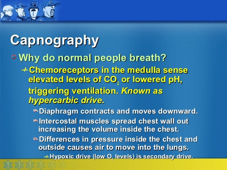 Capnography Why do normal people breath?  Chemoreceptors in the medulla sense  elevated levels of CO2 or lowered pH,  trig...